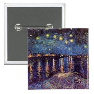 Noite estrelado sobre o Rhone, belas artes de Van Bóton Quadrado 5.08cm