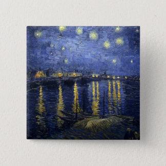 Noite estrelado sobre o Rhone Bóton Quadrado 5.08cm