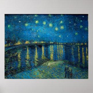 Noite estrelado sobre o Rhone por Vincent van Gogh Pôster