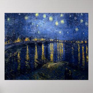Noite estrelado sobre o Rhone Pôsteres