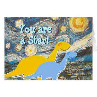 Noite estrelado você é um cartão dos dinossauros