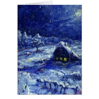 Noite. Inverno. Rússia - cartão de nota
