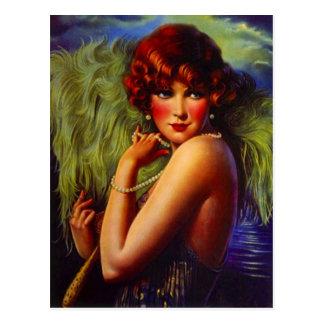 Noite na menina do Flapper da praia & no cartão