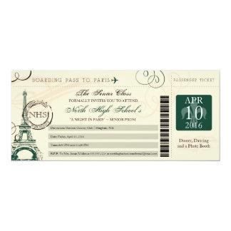 Noite no verde de caçador do baile de formatura | convite 10.16 x 23.49cm