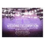 noite roxa & casamento rústico das luzes do jardim convites personalizado