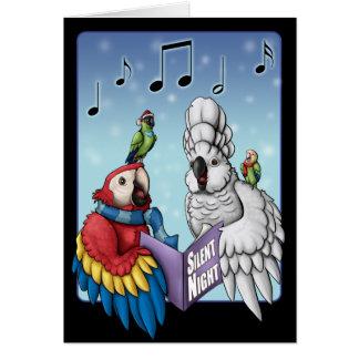 """""""Noite silenciosa?"""" Cartão de Natal do papagaio"""