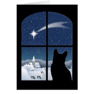 Noite silenciosa, cartão santamente da noite