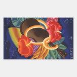 Noites havaianas do Ukulele do vintage da etiqueta Adesivos Em Forma Retangular