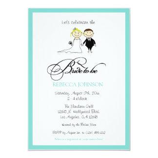 """Noiva azul do aqua bonito a """"a ser"""" chá de panela convites personalizados"""