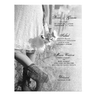 Noiva, botas e menu do casamento do país dos giras panfleto coloridos