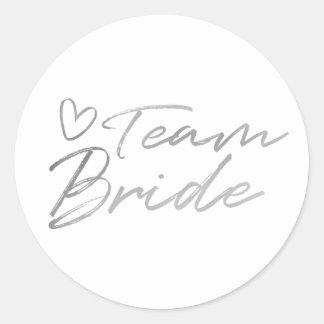 Noiva da equipe - etiqueta de prata da folha do
