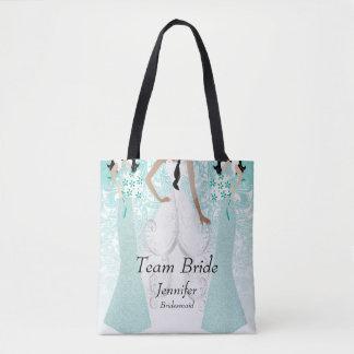 Noiva da equipe na cerceta bolsas tote