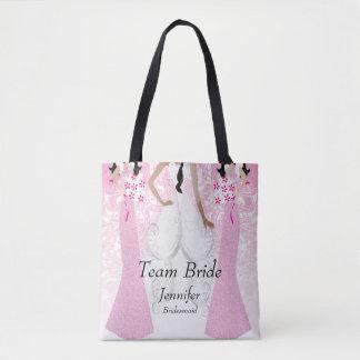 Noiva da equipe no rosa bolsa tote