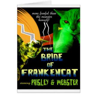 Noiva do cartão de Frankencat o Dia das Bruxas