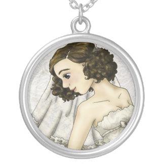Noiva do laço colar com pendente redondo