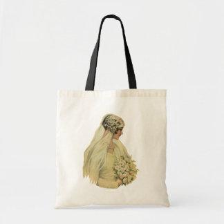 Noiva do Victorian do vintage no retrato nupcial Sacola Tote Budget