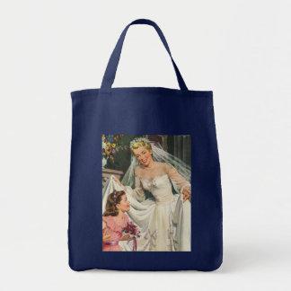 Noiva do vintage com o florista em seu dia do sacola tote de mercado