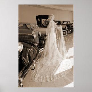 Noiva e carros antigos posteres