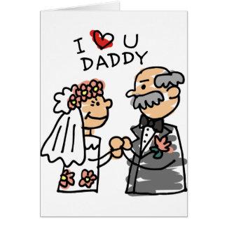 Noiva e pai no dia do casamento antes da cerimónia cartão comemorativo