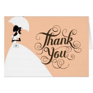 Noiva elegante dos cartões de agradecimentos