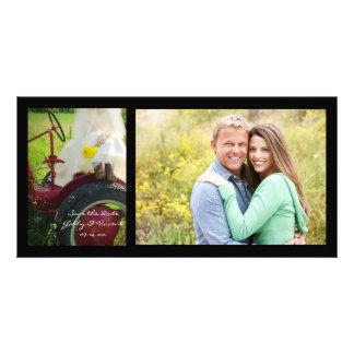 Noiva em economias do casamento do país do trator cartão com foto