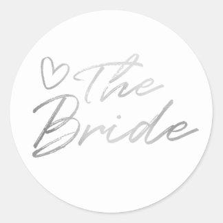 Noiva - etiqueta de prata da folha do falso