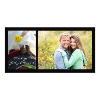 Noiva no obrigado do casamento da fazenda do cartão com foto