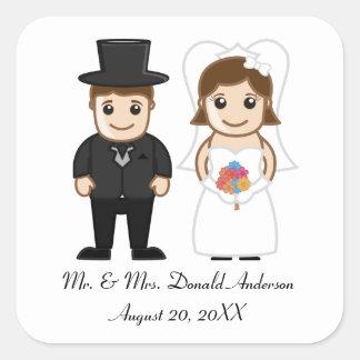 Noiva & noivo - etiqueta quadrada