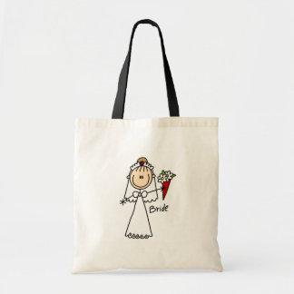 Noiva que joga o saco do buquê sacola tote budget