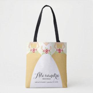 Noiva & seu bolsa amarelo da festa de casamento