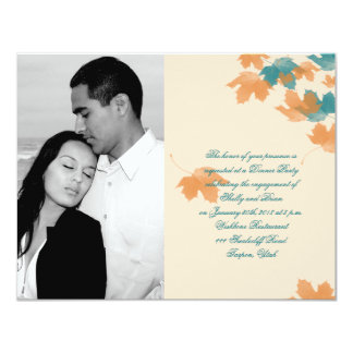 Noivado alaranjado do casamento da folha de bordo convite 10.79 x 13.97cm