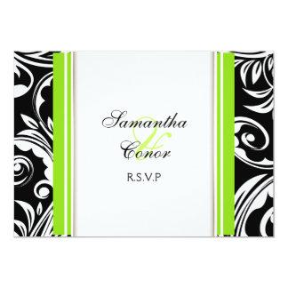 Noivado branco verde preto do casamento convite 12.7 x 17.78cm