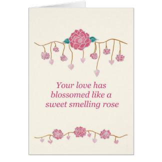 Noivado cor-de-rosa do doce cartão comemorativo