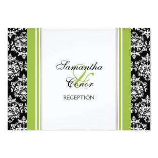 Noivado verde branco preto do casamento tema convite 12.7 x 17.78cm