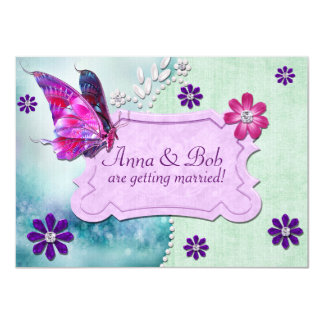 NOIVADO WEDDING Jeweled da borboleta 1 místico Convite 11.30 X 15.87cm