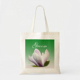 noivo da flor da magnólia do primavera sacola tote budget