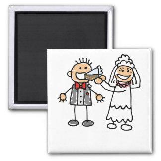 Noivo das alimentações da noiva ímã quadrado