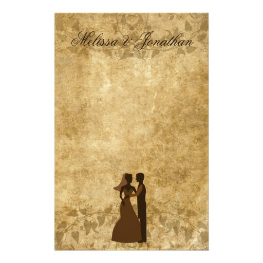 Noivo de papel da noiva do vintage que Wedding uma Papelaria Personalizada