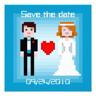 Noivos do pixel - salvar a data - azul convites personalizados