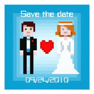 Noivos do pixel - salvar a data - azul convite quadrado 13.35 x 13.35cm
