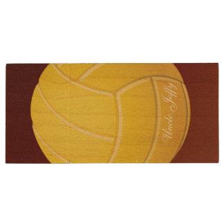 Nome amarelo do monograma do voleibol pen drive