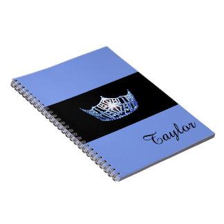 Nome azul do costume do caderno da coroa da