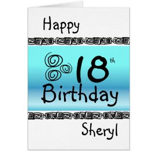 Nome azul gráfico de turquesa do 18o aniversário cartão comemorativo