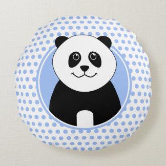 Nome bonito da panda em pontos azuis traseiros almofada redonda