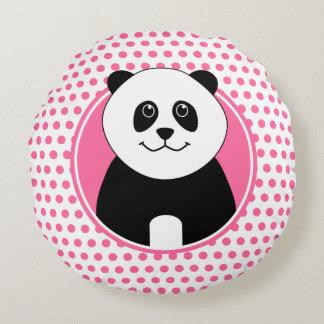 Nome bonito da panda em pontos cor-de-rosa almofada redonda