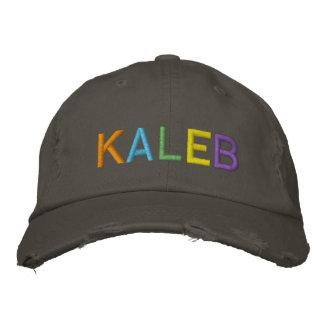 Nome bordado colorido de KALEB no chapéu Boné Bordado
