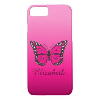 Nome cor-de-rosa feminino do costume da borboleta capa iPhone 8/ 7