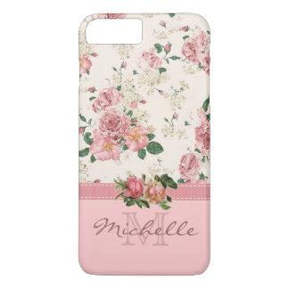 Nome cor-de-rosa floral do monograma do rosa capa iPhone 7 plus