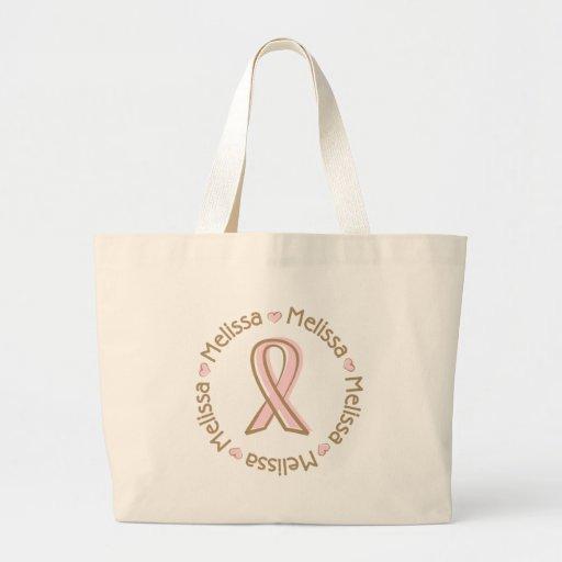 Nome cor-de-rosa Melissa do cancro da mama da fita Bolsas