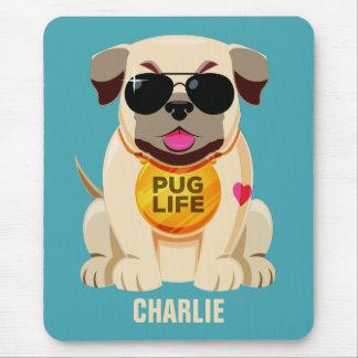 Nome da vida do Pug & mousepad feitos sob
